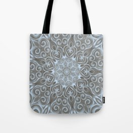 Light Blue Center Swirl Mandala Tote Bag