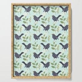 A Flurry Of Wings Spring Blackbird Pattern Serving Tray