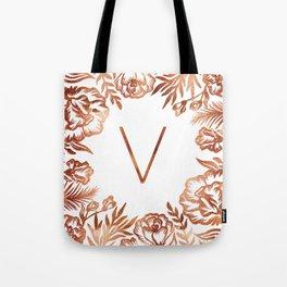 Letter V - Faux Rose Gold Glitter Flowers Tote Bag