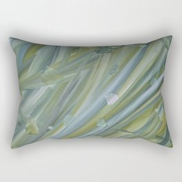 Green coloured abstract acrylic painting Rectangular Pillow