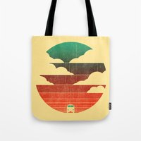 space Tote Bags featuring Go West by Picomodi