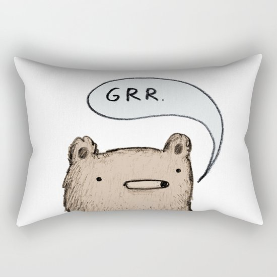 Growling Bear Rectangular Pillow