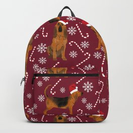 Bloodhound christmas candy canes and snowflakes holiday dog breed gifts Backpack
