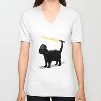 shipping V-neck T-shirts featuring Cat Vader by nicebleed