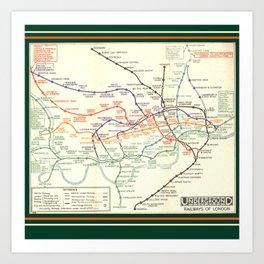 Vintage London Underground Map Art Print