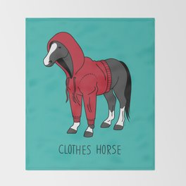 Clothes Horse Red Throw Blanket