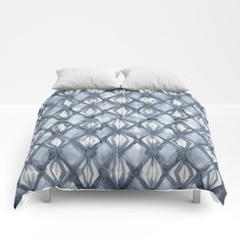 Braided Diamond Indigo Blue on Lunar Gray Comforters