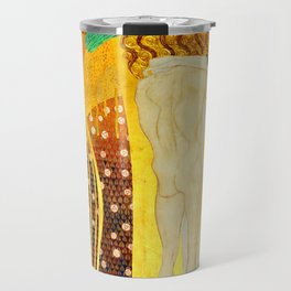 """Gustav Klimt """"The Beethoven Frieze - The quest for happiness"""" Travel Mug"""