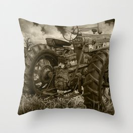 Abandoned Old Farmall Tractor in Sepia Tone Throw Pillow