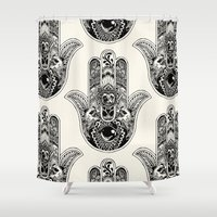 hamsa Shower Curtains featuring Hamsa Hand Pug by Huebucket