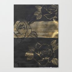 Feminine, Grung Print. Black and Gold Roses. Canvas Print