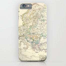 Vintage Map - Spruner-Menke Handatlas (1880) - 13 Ethnographic Map in the mid-19th Century iPhone Case