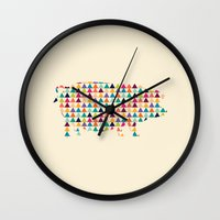 piglet Wall Clocks featuring Piglet Geometric by ArtisanObscure Prints