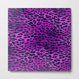Purple Tones Leopard Skin Camouflage Pattern Metal Print