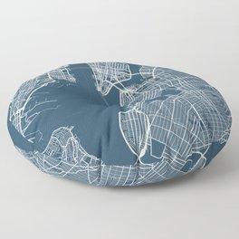 New York Blueprint Street Map, New York Colour Map Prints Floor Pillow