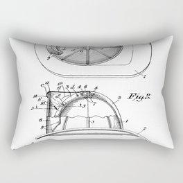 Firemans Helmet Patent - Fire Fighter Art - Black And White Rectangular Pillow