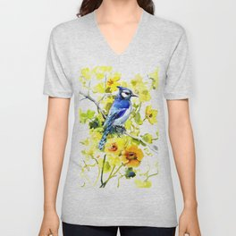 BLue Jay and Yellow Flowers Unisex V-Neck