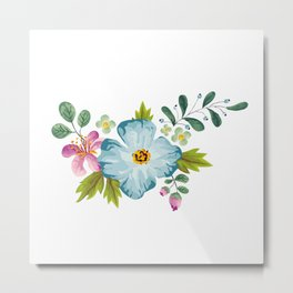Bouquet Viola - Violet, Green AND Blue Flower Pimpernel Metal Print