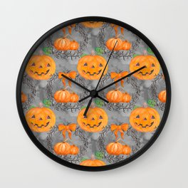 Watercolor Pumpkin Pattern Wall Clock