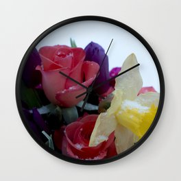 Vibrant bouquet of flowers in the snow Wall Clock