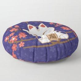 Maneki-neko cat with good luck kanji Floor Pillow