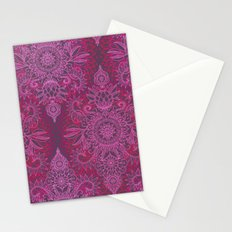 Magenta, Pink & Coral Protea Doodle Pattern Stationery Cards