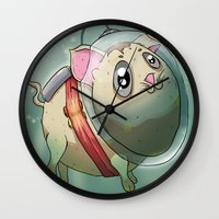 scuba Wall Clocks featuring Scuba Cat by Nogland
