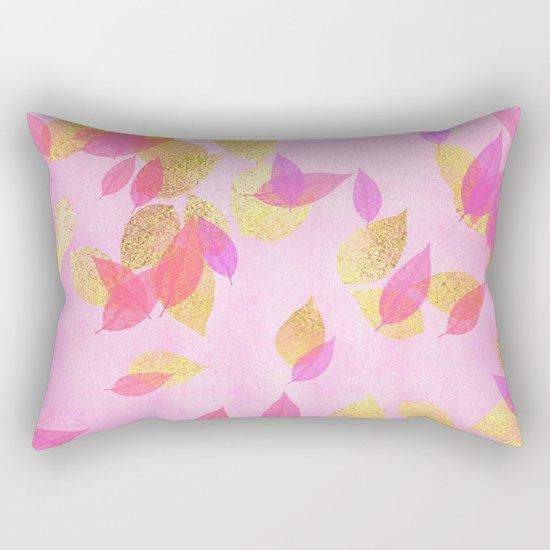 Autumn-world 5 - gold glitter leaves on pink background on #Society6 Rectangular Pillow