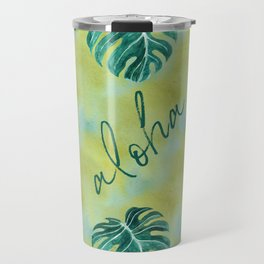 Tropical aloha monstera leaves on yellow green washed watercolor Travel Mug