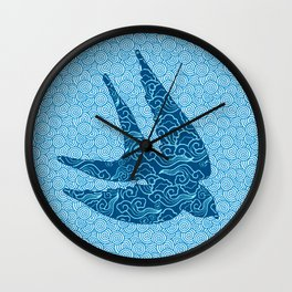 Swallows in Flight, Cobalt and Pale Blue Wall Clock