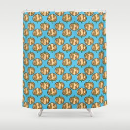 Pastel Pumpkins for Fall - Hand Drawn on Blue Shower Curtain