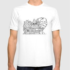 house White SMALL Mens Fitted Tee