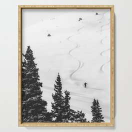 Backcountry Skier // Fresh Powder Snow Mountain Ski Landscape Black and White Photography Vibes Serving Tray