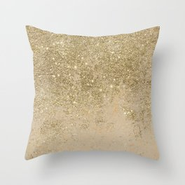 Girly trendy gold glitter ivory marble pattern Throw Pillow