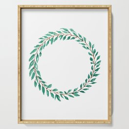 Green Wreath Serving Tray