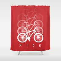 bikes Shower Curtains featuring Bikes by ClicheZero