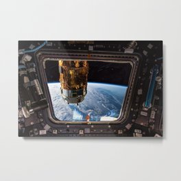 Space Station Window Overlooking Planet Earth Metal Print