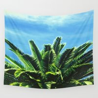 """palm tree Wall Tapestries featuring Palm TreE  by """"CVogiatzi."""