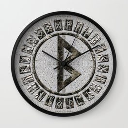 Berkana Rune and Alphabet on Birch Wall Clock