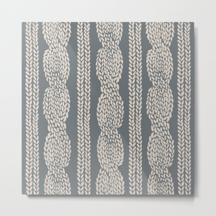 Cable Knit Grey Metal Print
