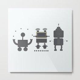 gray robots Metal Print