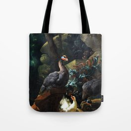 Abraham Busschop Park Landscape with Guinea Fowl, Chicken and Chicks Tote Bag