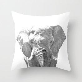 Black and white elephant illustration Throw Pillow