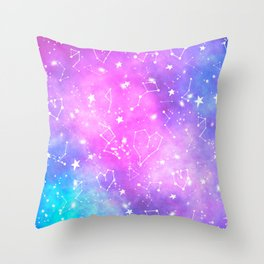 White constellation universe pattern zodiac on purple blue nebula space watercolor Throw Pillow
