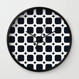 RoundSquares White on Black Wall Clock