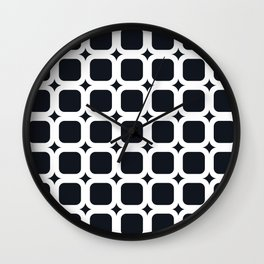 RoundSquares White on Black Wall Clock