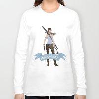 lara croft Long Sleeve T-shirts featuring Fight Like a Girl: Lara Croft by Dorothy Leigh