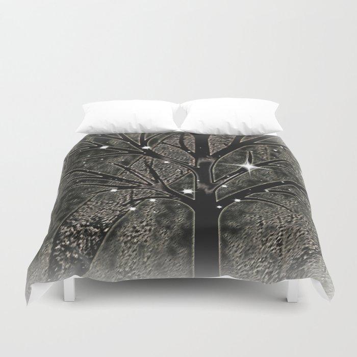 Black frozen winter sparkly night  Duvet Cover