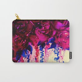 PETALS ON PARADE, Oxblood Marsala Red Royal Blue Floral Abstract Watercolor Roses Flowers Painting Carry-All Pouch