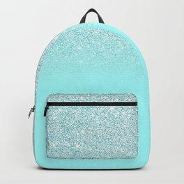 Elegant Chic Mint Blue Gradient Glitter Backpack